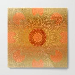 """Savanna Orange-Gold Mandala"" Metal Print"