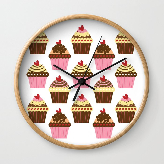 Cupcake Love Pattern Wall Clock