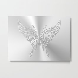 Ornate round-tailed butterfly in silver with embossed effect Metal Print
