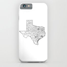 Texas White Map iPhone Case
