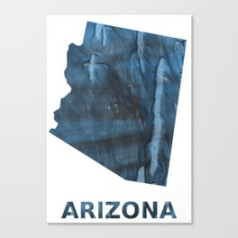 Arizona map outline Dark Gray Blue clouded watercolor pattern Canvas Print