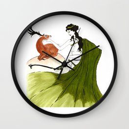 The Lady Artemis, The Goddess of the Hunt Wall Clock