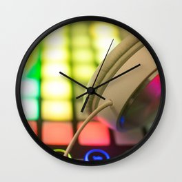 Headphones on a launchpad Wall Clock