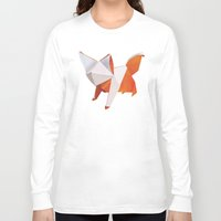 origami Long Sleeve T-shirts featuring Origami Fox by dellydel