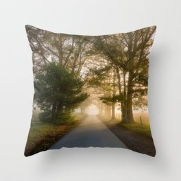 Daylight and Mist - Road with Warm Light in Great Smoky Mountains Throw Pillow