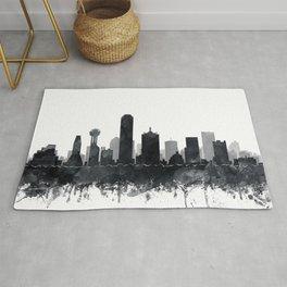 Dallas Skyline Black White Watercolor by Zouzounio Art Rug