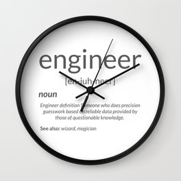 Gift for Engineer College Major Engineer Definition Gift Wall Clock