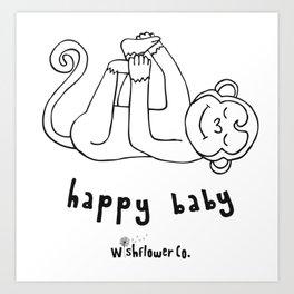 Happy Baby Monkey Art Print