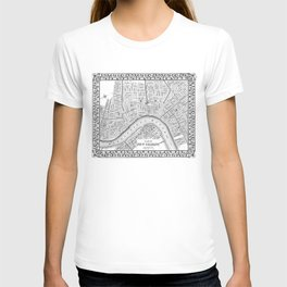 Vintage Map of New Orleans (1880) BW T-shirt