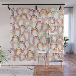 Pastel Rainbow Pattern - pink, aqua and blue Wall Mural