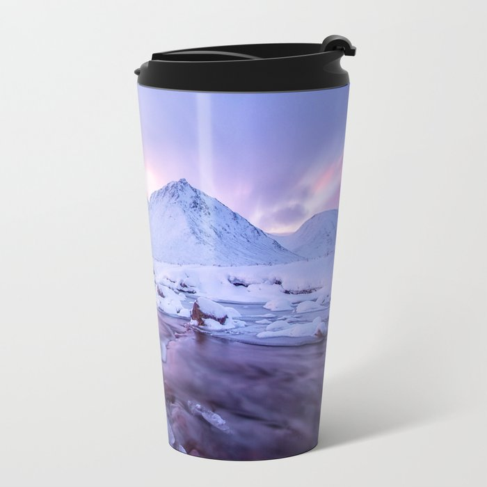 Freezing Mountain Lake Landscape Metal Travel Mug