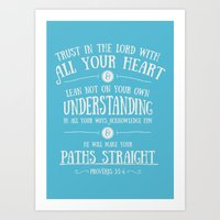 bible verses Art Prints featuring Proverbs 3 verses 5 and 6 - Typographic Bible Verse by Encouraging Verses UK