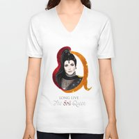 evil queen V-neck T-shirts featuring Regina, The Evil Queen by Clara J Aira