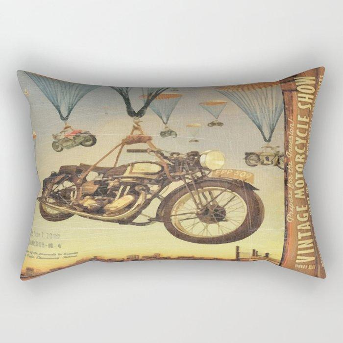 Vintage Motorcycle Show Poster Rectangular Pillow