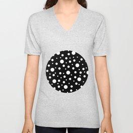 White on Black Polka Dot Pattern Unisex V-Neck
