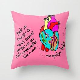 corazón de colores Throw Pillow