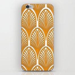 Orange,white,art deco, vintage,fan pattern, art nouveau, vintage, iPhone Skin