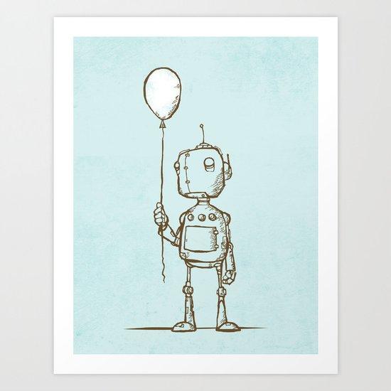 A Robot's Balloon Art Print