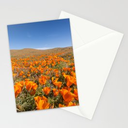 Blooming poppies in Antelope Valley Poppy Reserve Stationery Cards