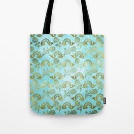 Mermaid Ocean Whale Friends - Teal And Gold Pattern Tote Bag