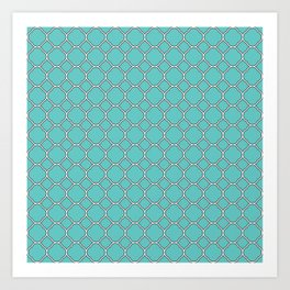 Turquoise Blue Clover Pattern Art Print