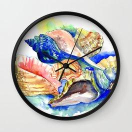 Seashells, ocan beach seashell artwork Wall Clock
