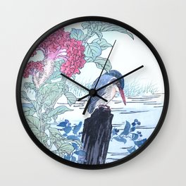 Kono Bairei - Kingfishers And Cockscomb Flowers - Vintage Japanese Woodblock Print Art  Wall Clock