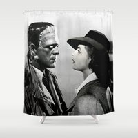 casablanca Shower Curtains featuring FRANKENSTEIN IN CASABLANCA by Luigi Tarini