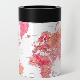"""Adventure Awaits watercolor world map in hot pink and orange, """"Tatiana"""" Can Cooler"""