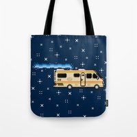 8bit Tote Bags featuring 8Bit Bad by Atomic Rocket