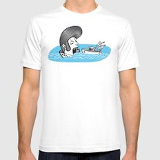 Elvis Eats Boats MEDIUM White Mens Fitted Tee