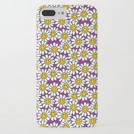 Purple Smiley Daisy Flower Pattern iPhone Case