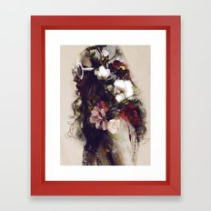 The girl with the flowers in her hair Framed Art Print