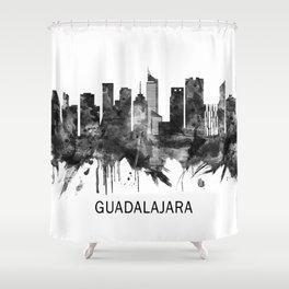 Guadalajara Mexico Skyline BW Shower Curtain