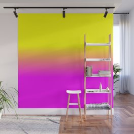Neon Yellow and Bright Hot Pink Ombré  Shade Color Fade Wall Mural