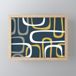 Mid Century Modern Loops Pattern in Light Mustard Yellow, Navy Blue, Gray, and White Framed Mini Art Print