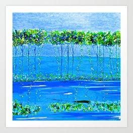 Trees Skinny Blue Green Art Print
