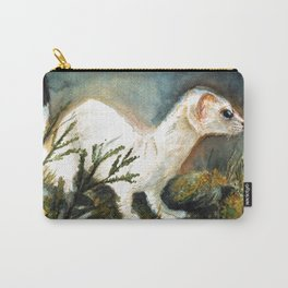 Winter stoat watercolor Carry-All Pouch