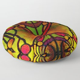 Yellow Red and Green Art Nouveau Stained Glass Floor Pillow
