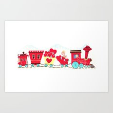 Vintage Valentine Day Card Inspired - Love, Romance, Romatic, Red, Hearts, Cherub, Angels Art Print