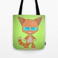 dave matthews Tote Bags featuring Dave Cat by Catmaniac8x