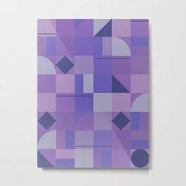 Retro Mid Century Purple Geometric Squares Pattern Metal Print