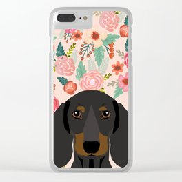 Dachshund florals cute pet gifts black and tan dachshund gifts for dog lover with weener dog Clear iPhone Case