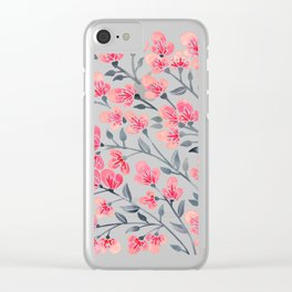 Cherry Blossoms – Pink & Black Palette Clear iPhone Case