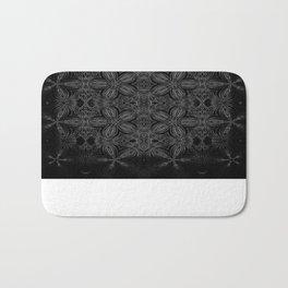 Black Slate Gray Floral Pattern Bath Mat