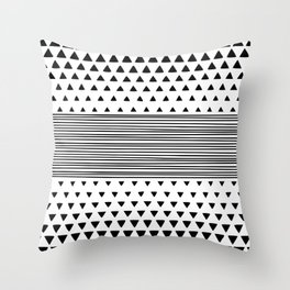 Stripes and Triangles Geometric Modern Black and White Throw Pillow