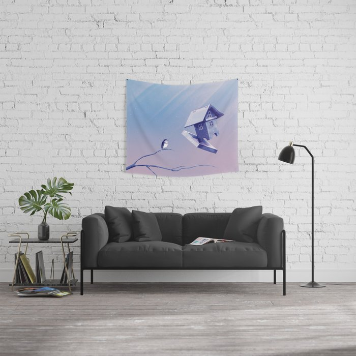 Freezing Bird...house Wall Tapestry