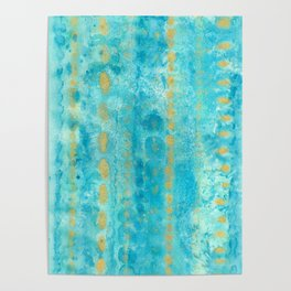 Gold in Deep Turquoise watercolor art Poster