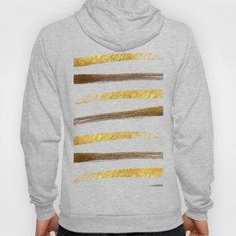 Stylish faux gold foil stripes brushstrokes Hoody