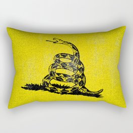 Gadsden Distressed Halftone Denim Flag Rectangular Pillow